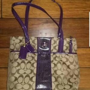 Coach Purple Trim Brown Monogram Medium Handbag